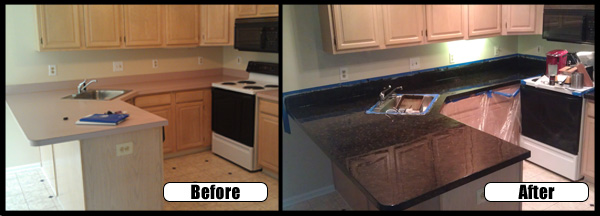Countertops revlon renovations for Painting kitchen countertops before and after